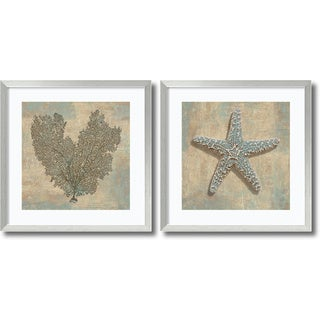 Framed Art Print 'Aqua Fan Coral & Starfish -set of 2' 27x27-inch Each