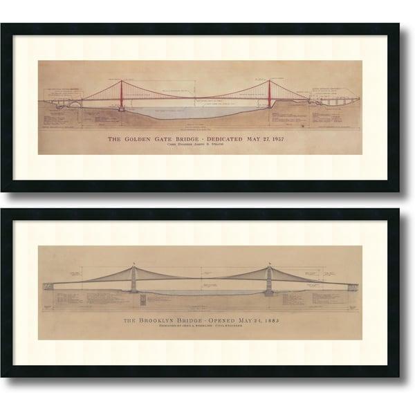 Framed Art Print 'Golden Gate Bridge, Brooklyn Bridge - set of 2' by Craig S. Holmes 40 x 17-inch Each