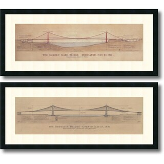 Framed Art Print 'Golden Gate Bridge, Brooklyn Bridge - set of 2' by Craig S. Holmes 40 x 17-inch Each