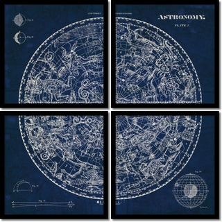 Susan Schlabach 'Celestial Blueprint Quad- set of 4' Framed Art Print 19 x 19-inch Each