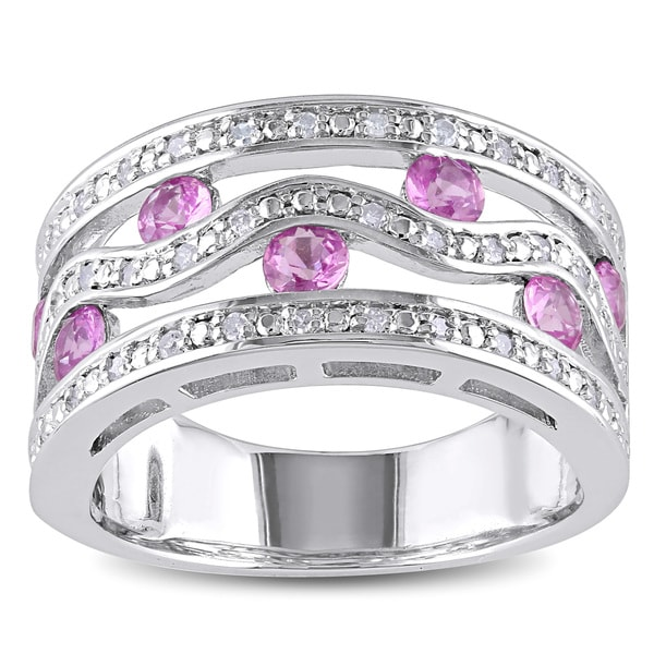 Miadora Sterling Silver Pink Sapphire and 1/5ct TDW Diamond Ring (H-I, I2-I3)