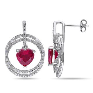 Miadora Sterling Silver Created Ruby and 1/6ct TDW Diamond Heart Earrings (H-I, I2-I3)