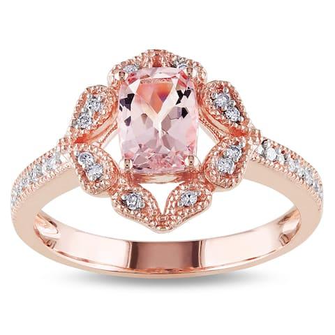 Miadora 10k Rose Gold Cushion-cut Morganite and 1/10ct TDW Diamond Ring