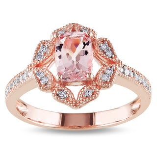 Miadora 10k Rose Gold Cushion Cut Morganite And 1 10ct TDW Diamond Ring