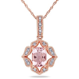 Miadora 10k Rose Gold Cushion-cut Morganite and Diamond Accent Necklace