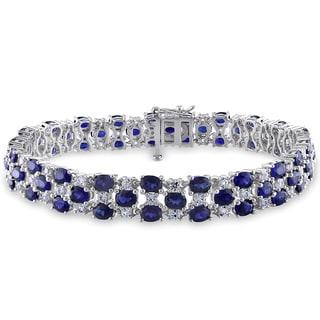 Miadora Created Blue and White Sapphire Tennis Bracelet