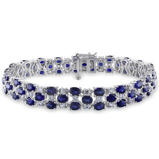 Miadora Created Blue and White Sapphire Tennis Bracelet