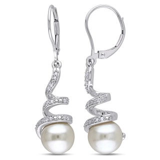 Miadora 10k White Gold Cultured Freshwater Pearl and 1/6ct TDW Diamond Spiral Earrings (H-I, I2-I3) (8-8.5 mm)