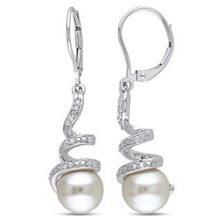 Miadora 10k White Gold Cultured Freshwater Pearl and 1/6ct TDW Diamond Spiral Earrings (H-I, I2-I3) (8-8.5 mm)|https://ak1.ostkcdn.com/images/products/9272924/P16436613.jpg?_ostk_perf_=percv&impolicy=medium