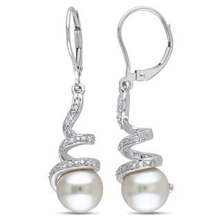 Miadora 10k White Gold Cultured Freshwater Pearl and 1/6ct TDW Diamond Spiral Earrings (H-I, I2-I3) (8-8.5 mm)|https://ak1.ostkcdn.com/images/products/9272924/P16436613.jpg?impolicy=medium