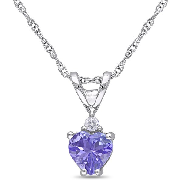 Miadora 10k White Gold Tanzanite and Diamond Accent Heart Necklace