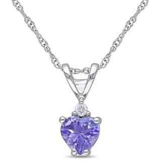 Miadora 10k White Gold Tanzanite And Diamond Accent Heart Necklace