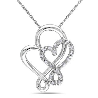 Miadora 10k White Gold 1/10ct TDW Diamond Heart Necklace