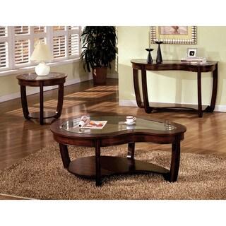 furniture of america curve dark cherry glass top coffee table