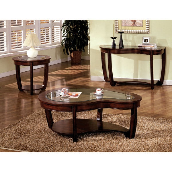Furniture Of America Curve Dark Cherry Glass Top Coffee Table   Free  Shipping Today   Overstock.com   16436656