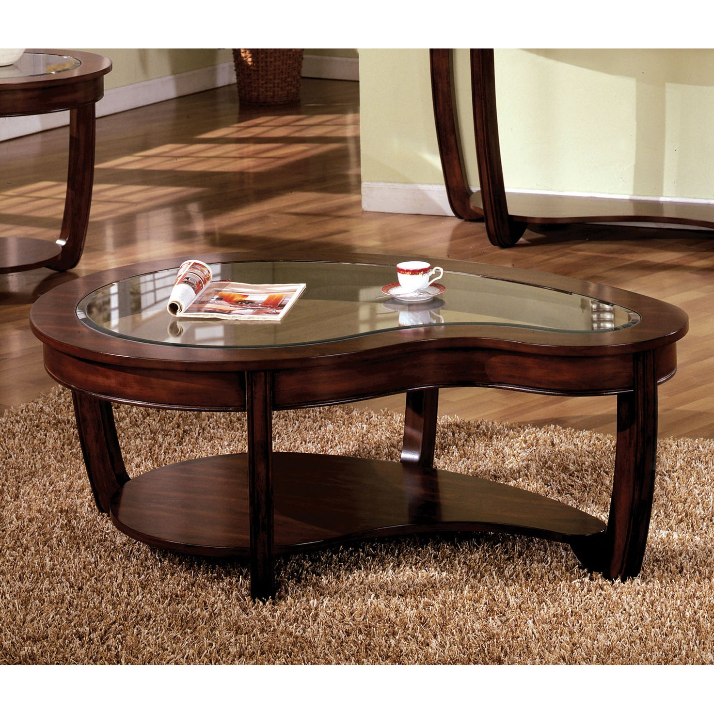 Gracewood Hollow Paolini Curved Dark Cherry Glass Top Coffee Table