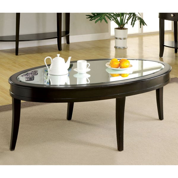 Contemporary Coffee Table Glass Top: Furniture Of America Slovaria Modern Glass Top Coffee