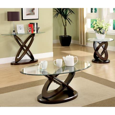 Furniture of America Faza Contemporary Walnut 3-piece Accent Table Set