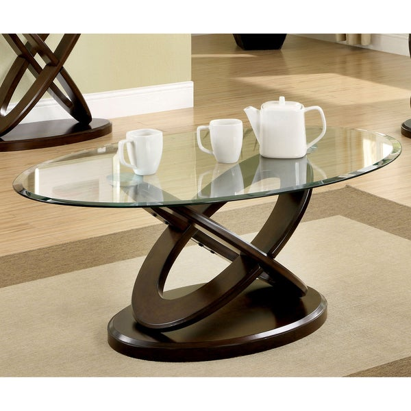 furniture of america evalline oval glass top coffee table - free