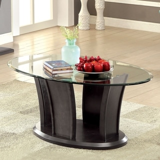 Furniture of America Adrian Dark Cherry Beveled Glass Top Coffee Table