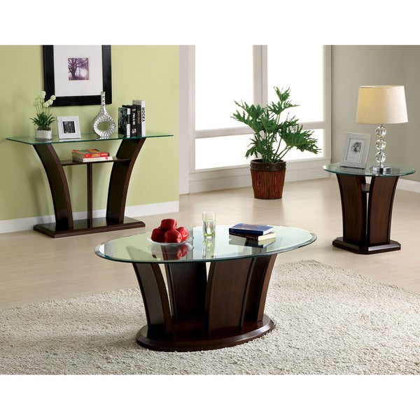 Adrian Transitional Dark Cherry 3-piece Accent Table Set by FOA