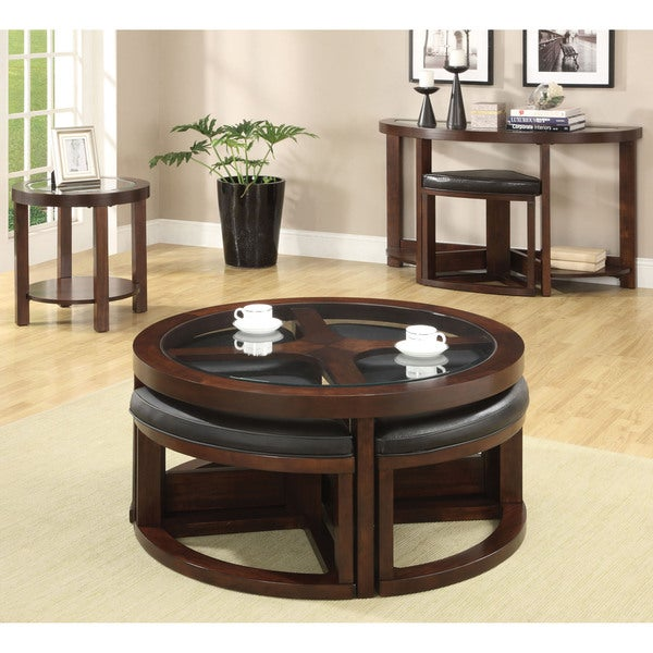 Furniture Of America Gracie Dark Walnut 5 Piece Coffee Table And Ottoman Set    Free Shipping Today   Overstock.com   16436668