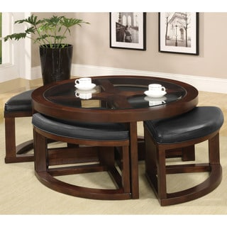 Furniture Of America Gracie Dark Walnut 5 Piece Coffee Table And Ottoman Set