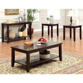 Furniture of America Xude Transitional Cherry 4-piece Accent Table Set
