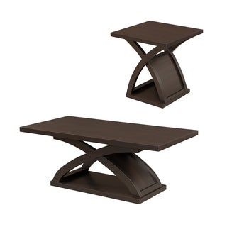 Furniture of America Barkley Modern 2-piece Espresso X-base Accent Table Set