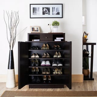 Furniture of America Arthurie Espresso Enclosed 5-shelf Shoe Cabinet|https://ak1.ostkcdn.com/images/products/9272983/P16436679.jpg?impolicy=medium