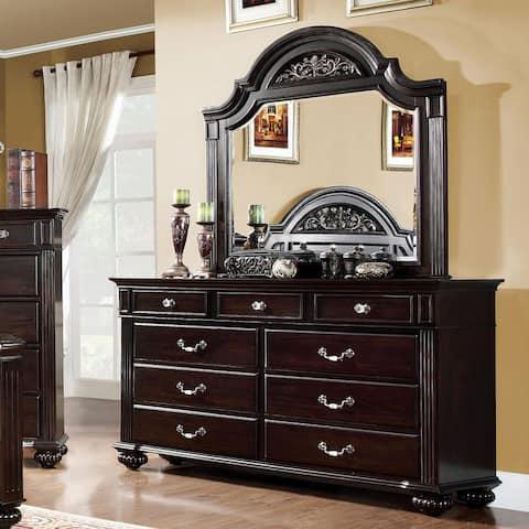 Furniture of America Vame Walnut 2-piece Dresser and Mirror Set