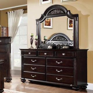 Furniture of America Grande Dark Walnut 2-Piece Dresser and Mirror Set
