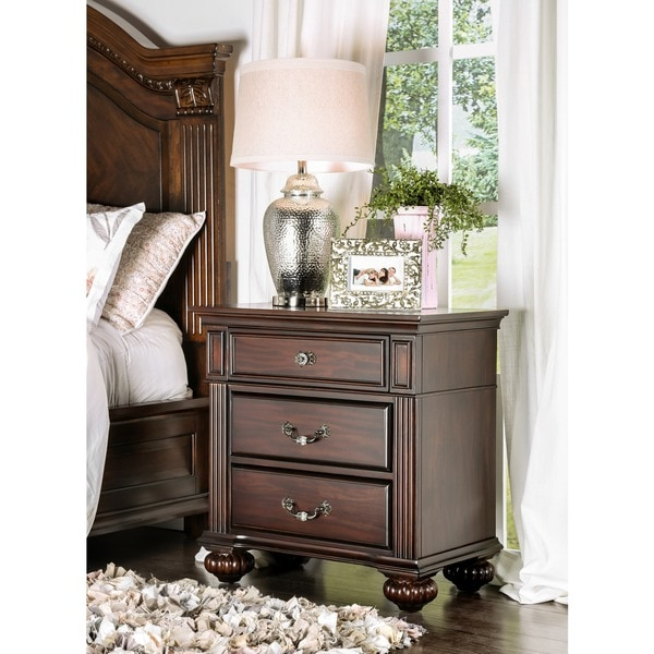 Furniture of America Grande Dark Walnut Wood 3-drawer Nightstand
