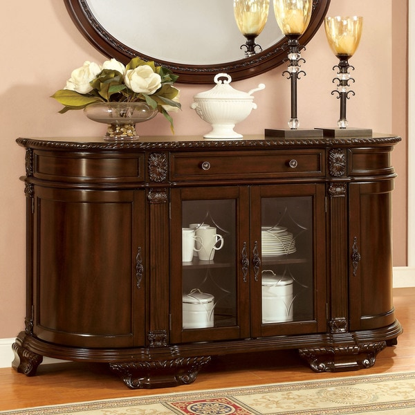 Furniture of america oskarre brown cherry formal dining for Dining room server