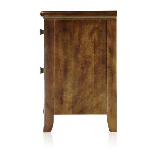 Furniture Of America Tyrenia 2 Drawer Walnut Finish Nightstand   Free  Shipping Today   Overstock.com   16436654