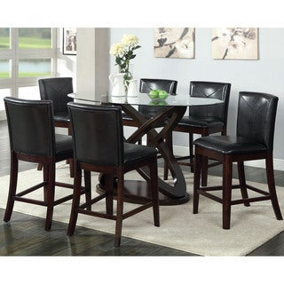 Furniture of America Weal Contemporary Walnut 7-piece Counter Set