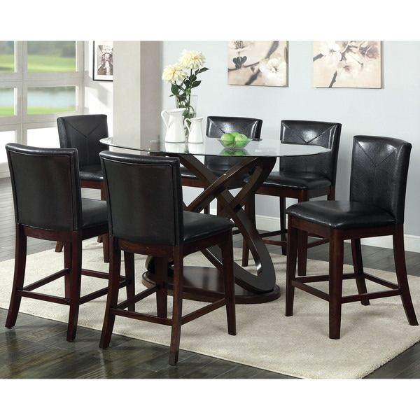 Charmant Furniture Of America Escalie 7 Piece Oval Counter Height Set
