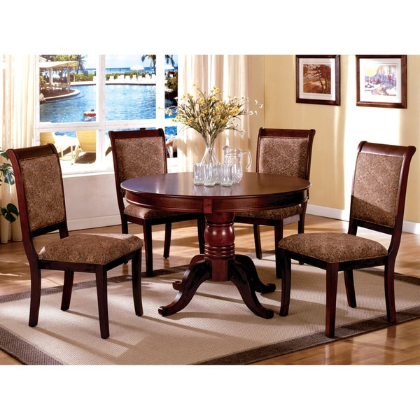 shop furniture of america ravena antique cherry 5 piece round dining rh overstock com antique cherry dining room chairs antique cherry dining room set