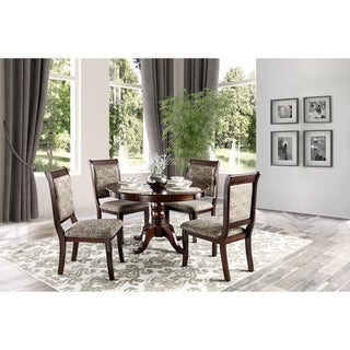 furniture of america ravena antique cherry 5 piece round dining set - Round Dining Room Chairs