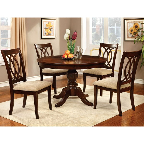 Furniture Of America Cerille 5 Piece Round Formal Dining Set