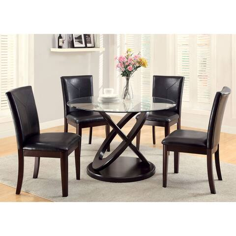 Furniture of America Weal Contemporary Walnut 5-piece Round Dining Set