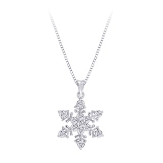 Sterling Silver Diamond Snowflake Pendant Necklace