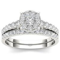 De Couer 10k White Gold 1ct TDW Diamond Bridal Ring Set