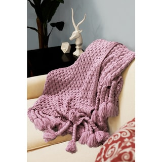 Judy Knitted Throw with Thick Hand-Braided Fringe