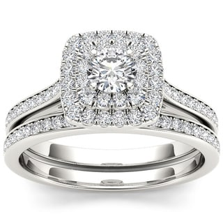 De Couer 10k White Gold 3/4ct TDW Diamond Double Halo Bridal Set