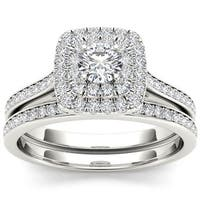 De Couer 10k White Gold 3/4ct TDW Diamond Double Halo Bridal Set