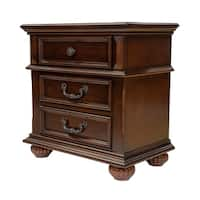 Barath Traditional Antique Dark Oak 3-drawer Nightstand by FOA