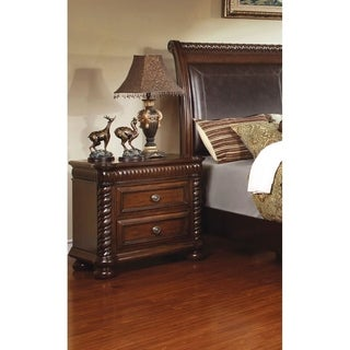 Furniture of America Dragia Brown Cherry 2-Drawer Nightstand