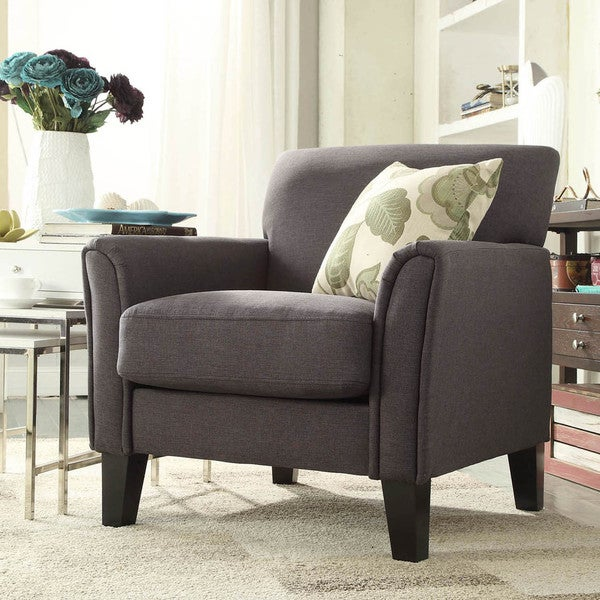 inspire q uptown modern dark grey linen accent arm chair