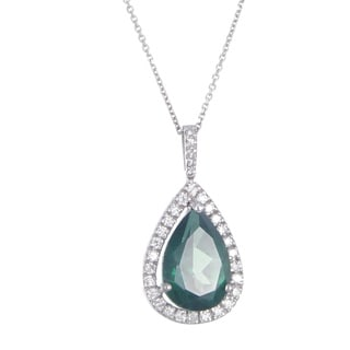 14k White Gold Green Topaz and 1/6ct TDW Diamond Necklace (G-H, I1-I2)